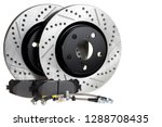 Tuning the brake system of the car. Perforated brake discs, ceramic pads and reinforced hoses - all for better braking.brake disc, pad and reinforced brake hose on a white background - stock photo