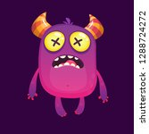 funny cartoon monster with... | Shutterstock .eps vector #1288724272
