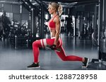 fitness woman doing lunges... | Shutterstock . vector #1288728958