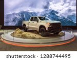 Small photo of DETROIT, MI/USA - JANUARY 14, 2019: 2019 Chevy Silverado Z71 Trail Boss truck at the North American International Auto Show (NAIAS).