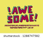 awesome retro alphabet with... | Shutterstock .eps vector #1288747582