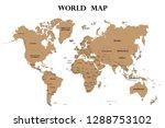 high detailed vector world map... | Shutterstock .eps vector #1288753102