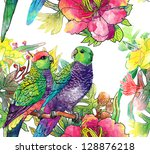 Parrots And Flowers