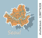 sticker map of seoul with... | Shutterstock .eps vector #1288776328