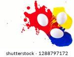 easter. easter eggs in paint...   Shutterstock . vector #1288797172