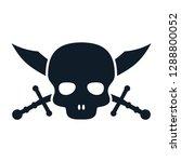pirate skull icon vector logo... | Shutterstock .eps vector #1288800052
