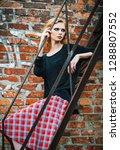 grunge fashion  beautiful young ... | Shutterstock . vector #1288807552
