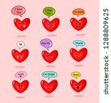 set of  cartoon hearts with... | Shutterstock .eps vector #1288809625