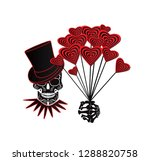 valentine background with skull ... | Shutterstock .eps vector #1288820758