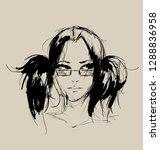 fashion girls face. woman face. ... | Shutterstock .eps vector #1288836958