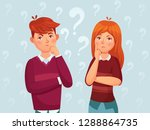 young thinking couple. confused ... | Shutterstock .eps vector #1288864735