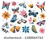 spring flowers and butterflies. ... | Shutterstock .eps vector #1288864762