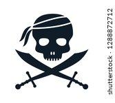 pirate skull vector logo style | Shutterstock .eps vector #1288872712