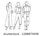 continuous line art or one line ... | Shutterstock .eps vector #1288874458