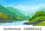 dense green forest along side a ... | Shutterstock .eps vector #1288881412
