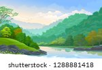 clean and fresh river flowing... | Shutterstock .eps vector #1288881418