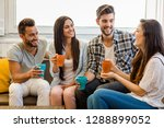 friends meeting at local coffee ... | Shutterstock . vector #1288899052