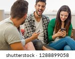 friends faving fun and making a ... | Shutterstock . vector #1288899058