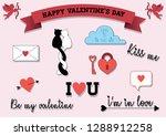 cute valentine's sticker set.   Shutterstock .eps vector #1288912258
