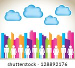 woman and man over colors... | Shutterstock .eps vector #128892176