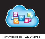 cloud and communication symbols ... | Shutterstock .eps vector #128892956