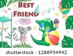 watercolor baby shower croc...   Shutterstock . vector #1288954942