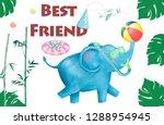 watercolor baby shower elephant ...   Shutterstock . vector #1288954945