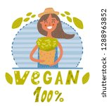 vegan girl with greens | Shutterstock .eps vector #1288963852