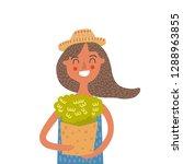 vegan girl with greens | Shutterstock .eps vector #1288963855