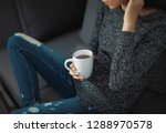 woman at home with coffee ... | Shutterstock . vector #1288970578