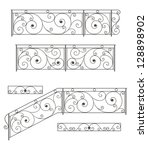 Vector Set  Wrought Iron Stair...