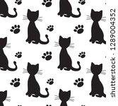 black cats seamless vector... | Shutterstock .eps vector #1289004352