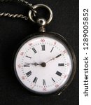 Small photo of Isolated closeup of vintage windup mechanical pocket watch face