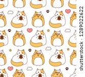 cute cats pattern  kawaii... | Shutterstock .eps vector #1289022622