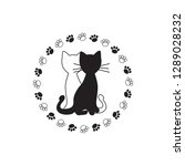 black and white cat silhouette... | Shutterstock .eps vector #1289028232