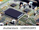 electronic circuit board close... | Shutterstock . vector #1289052895