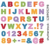 stitched alphabet shapes with... | Shutterstock .eps vector #128905298