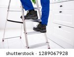 low section of man stepping on... | Shutterstock . vector #1289067928