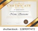 certificate vintage antique... | Shutterstock .eps vector #1289097472
