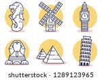 travel and destination icons... | Shutterstock .eps vector #1289123965