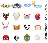 various themed masks on the... | Shutterstock .eps vector #1289125042