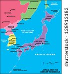 japan and the korean peninsula | Shutterstock .eps vector #128913182