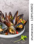 homemade cooked mussels with... | Shutterstock . vector #1289140852