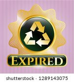 gold emblem with recycle icon... | Shutterstock .eps vector #1289143075