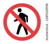 no pedestrian sign vector | Shutterstock .eps vector #1289220058