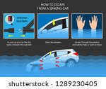 escape submerged car sinking... | Shutterstock .eps vector #1289230405