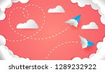 valentines day with origami... | Shutterstock .eps vector #1289232922