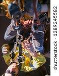 top view rope access technician ... | Shutterstock . vector #1289245582