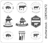 set of butcher shop labels and...   Shutterstock . vector #128924672