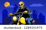 skull biker riding motorcycle... | Shutterstock .eps vector #1289251975